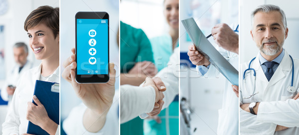 Doctors and medical app photo collage Stock photo © stokkete