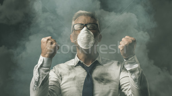 Angry businessman and pollution Stock photo © stokkete
