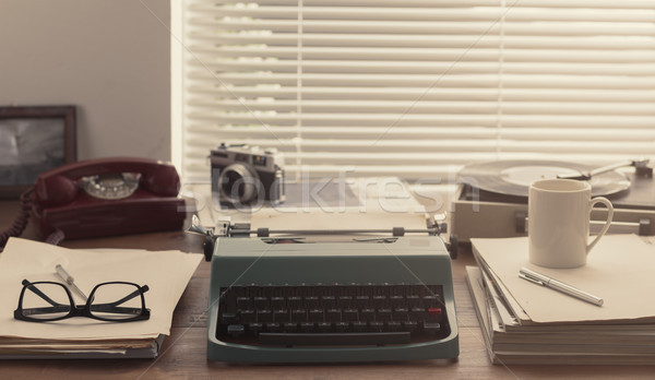 Writer and journalist vintage desktop with typewriter Stock photo © stokkete