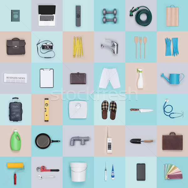 Objects and tools background Stock photo © stokkete