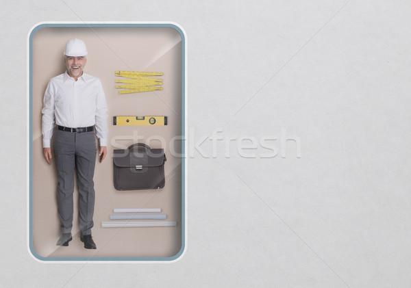 エンジニア 人形 建築 参照してください 包装 ストックフォト © stokkete