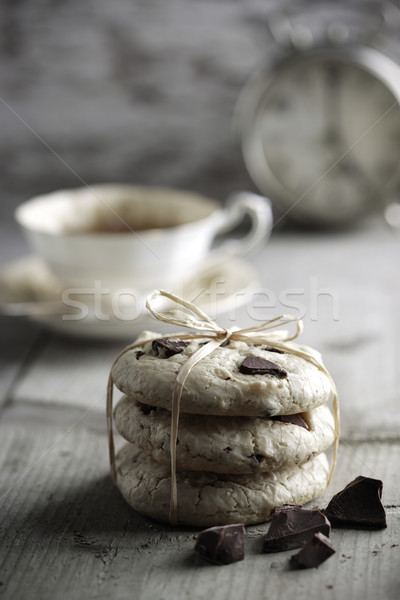 Breakfast with tea and Chocolate chip cookies Stock photo © stokkete