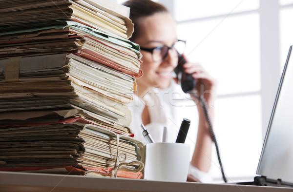 Ofis işleri belgeler sekreter telefon Stok fotoğraf © stokkete