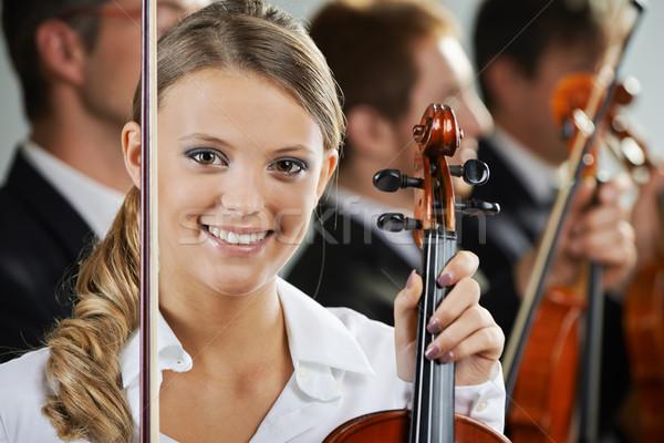 классическая музыка портрет красивой женщины скрипач Сток-фото © stokkete