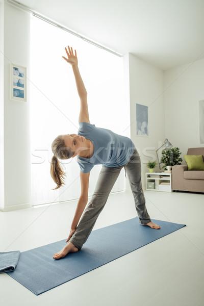 Stock photo: Yoga at home