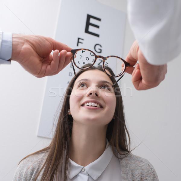 Mutlu kadın yeni gözlük genç çift Stok fotoğraf © stokkete