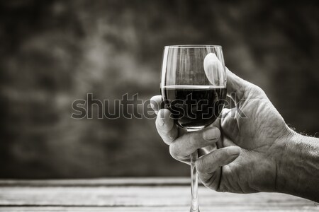 Férfi kóstolás üveg vörösbor idős bor Stock fotó © stokkete
