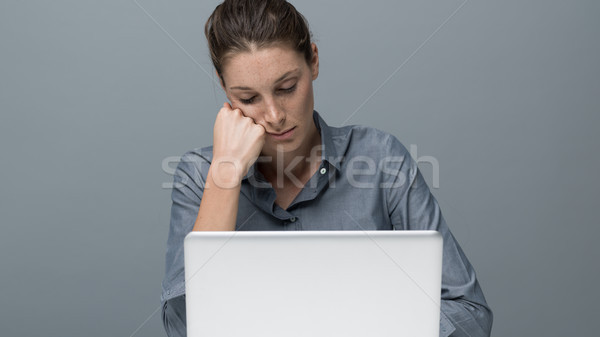 Stock photo: Tired woman sleeping in the office