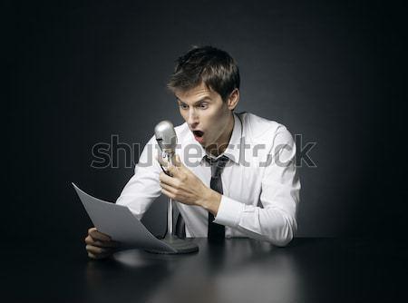 Unalmas hírek unatkozik mikrofon rádió dolgozik Stock fotó © stokkete