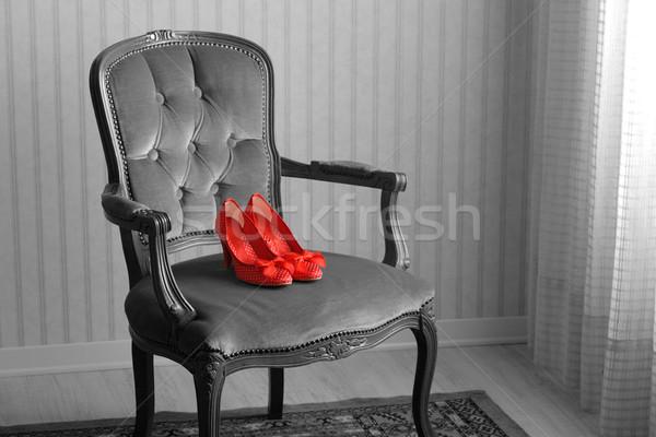 барокко кресло Председатель красный обувь пустой комнате Сток-фото © stokkete