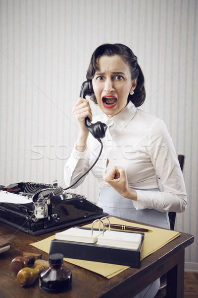 Stockfoto: Werk · problemen · bang · jonge · vrouw · kantoor