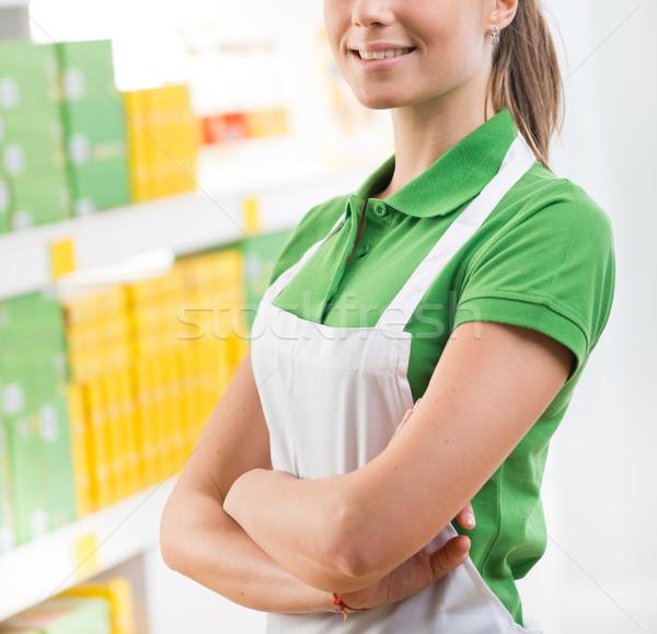 Saleswoman at supermarket Stock photo © stokkete