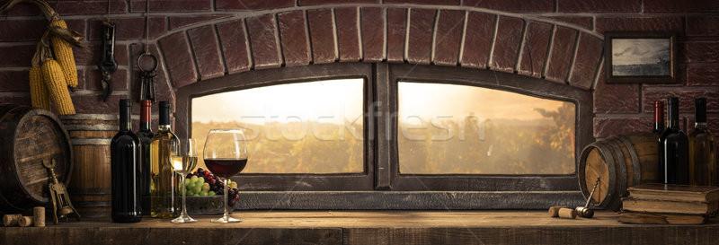 Rusztikus borospince vidék borospoharak üvegek panorámakép Stock fotó © stokkete