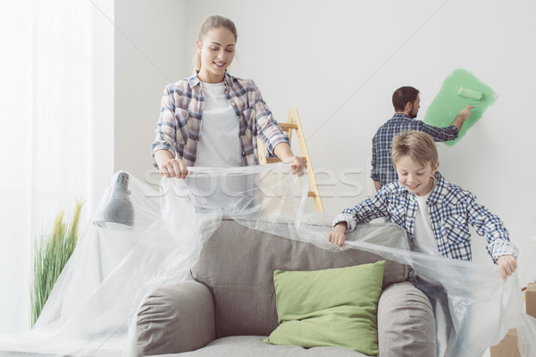 семьи Живопись домой счастливым молодые обстановка Сток-фото © stokkete