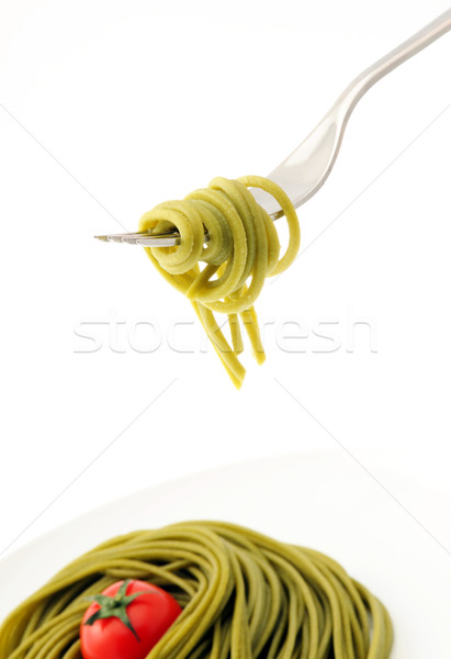 fresh spaghetti on fork close up shoot Stock photo © stokkete
