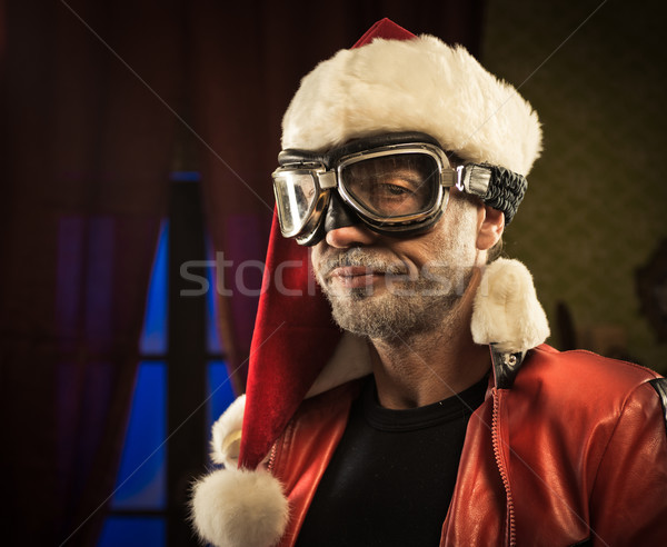 Rossz mikulás védőszemüveg otthon hatalmas néz Stock fotó © stokkete