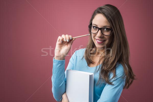 スマート 学生 図書 美しい 少女 眼鏡 ストックフォト © stokkete
