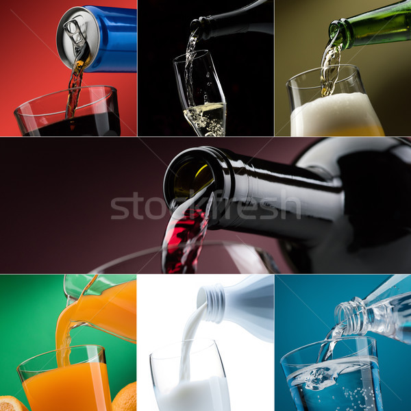 Pouring drinks into glasses photo collection Stock photo © stokkete