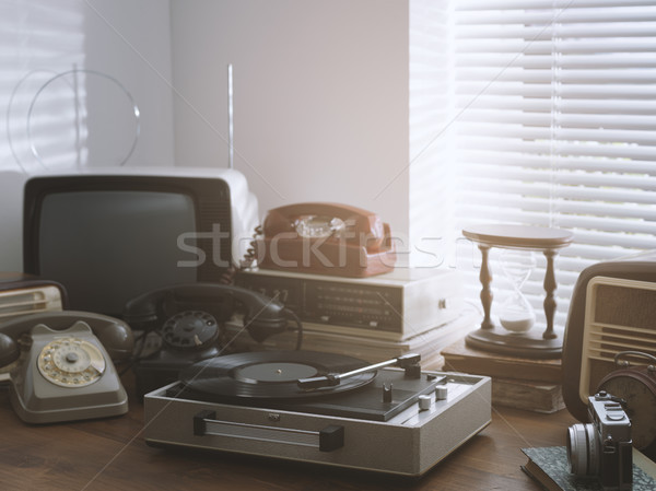Vintage objects collection next to a window Stock photo © stokkete