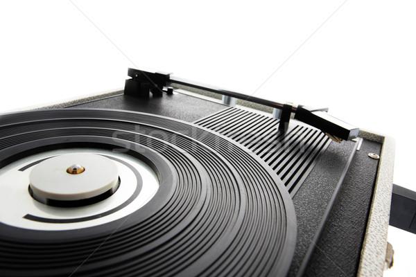 öreg lemezjátszó közelkép zene lemezjátszó antik Stock fotó © stokkete