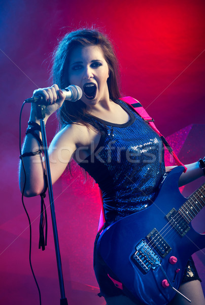 Zdjęcia stock: Młodych · piękna · rock · star · nastolatek · śpiewu · gry