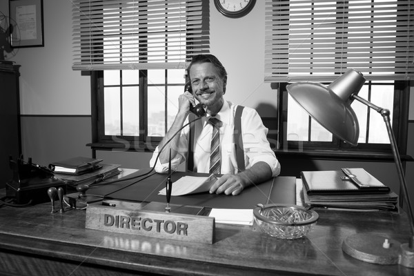 1950 escritório diretor trabalhando telefone sorridente Foto stock © stokkete