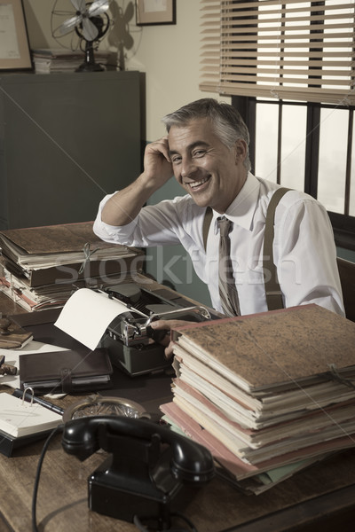 Cheerful white collar in the office Stock photo © stokkete