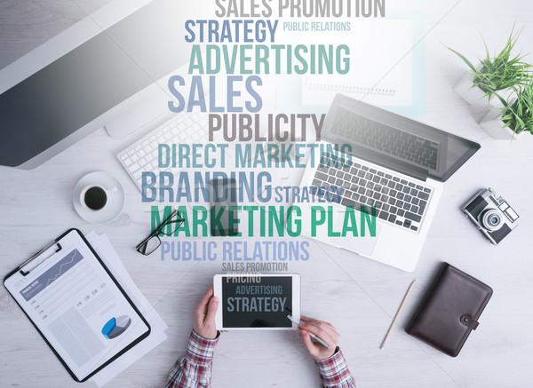Comercialización negocios conceptos empresario de trabajo Foto stock © stokkete
