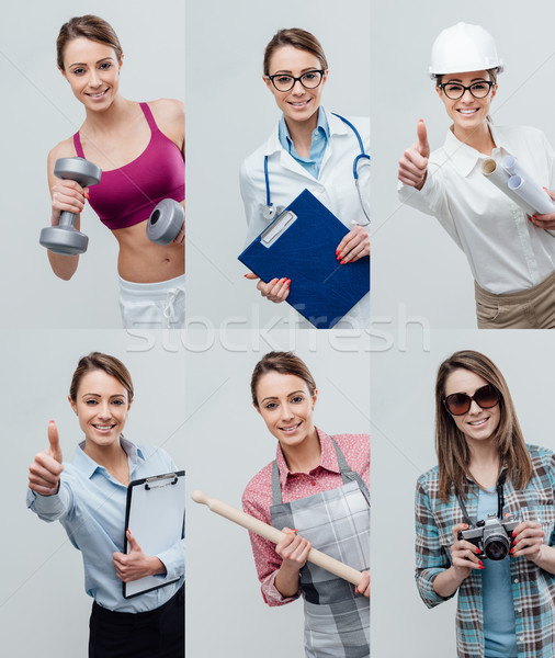 Collage of professional workers portraits Stock photo © stokkete