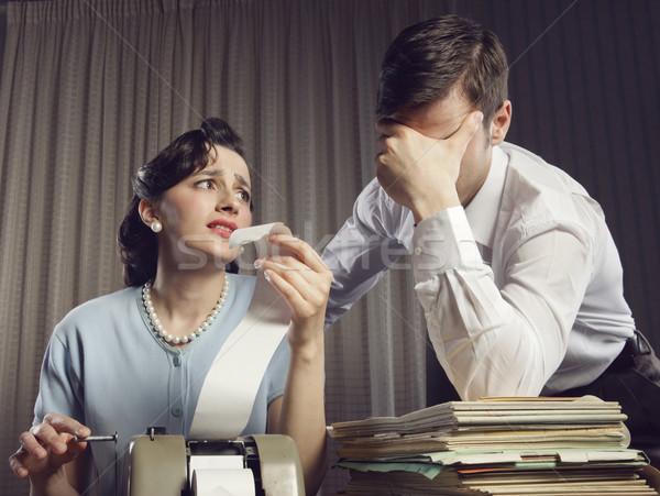 Adó fejfájás hangsúlyos férfi nő néz Stock fotó © stokkete