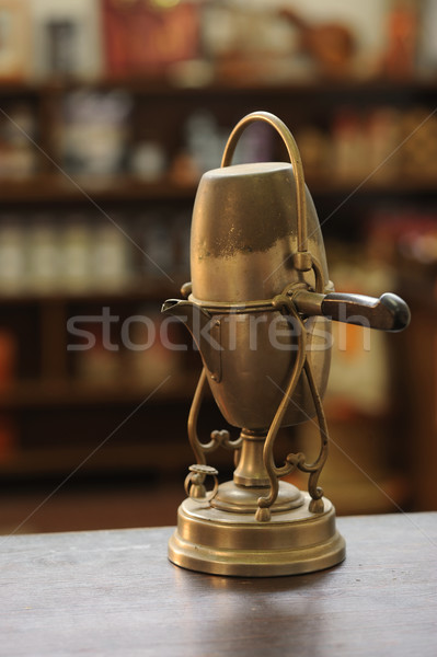 старые кофеварка деревянный стол тепло Италия крупным планом Сток-фото © stokkete