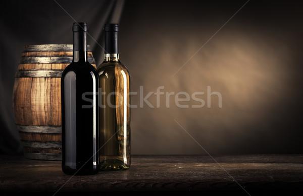 Bor készít csendélet piros fehérbor üvegek Stock fotó © stokkete