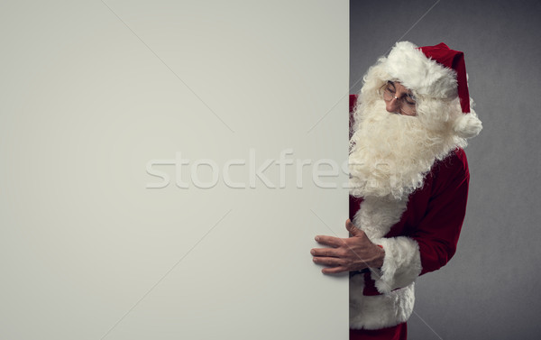 Santa Claus and blank sign Stock photo © stokkete