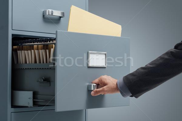Kantoor zoeken bestanden kabinet lade business Stockfoto © stokkete