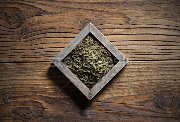 чай зеленый чай окна древесины Сток-фото © stokkete