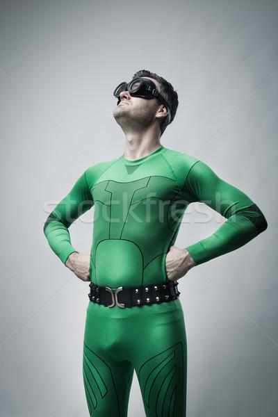 Funny leniwy superhero broni człowiek Zdjęcia stock © stokkete