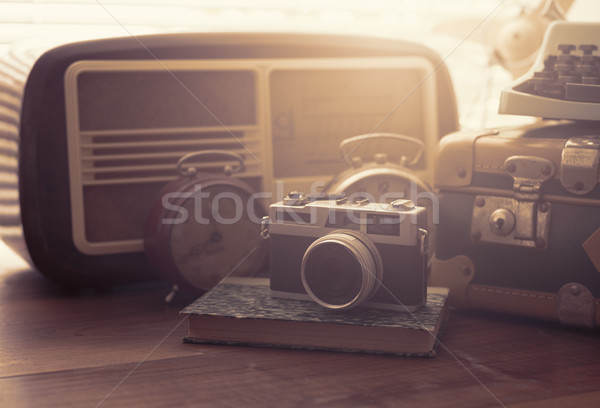 Vintage objects on a desk Stock photo © stokkete