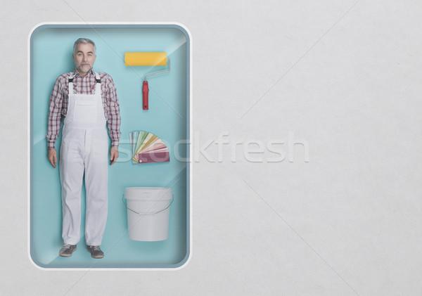 画家 人形 作業 ツール 参照してください おもちゃ ストックフォト © stokkete