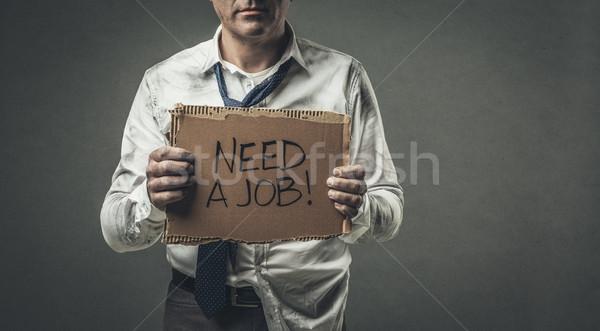 失業者 ビジネスマン 段ボール にログイン 絶望的な ストックフォト © stokkete