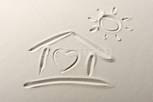 Beach background with home and heart drawing Stock photo © stokkete