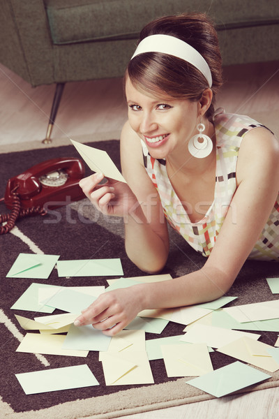 Beautiful woman with love letter Stock photo © stokkete