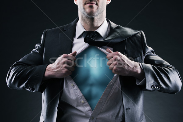 Szuperhős üzletember nyitva póló apró siker Stock fotó © stokkete