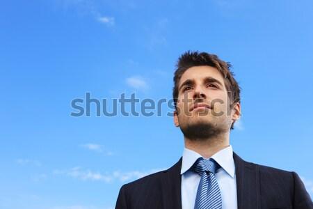 Giovani uomo d'affari ritratto natura libertà stile di vita Foto d'archivio © stokkete