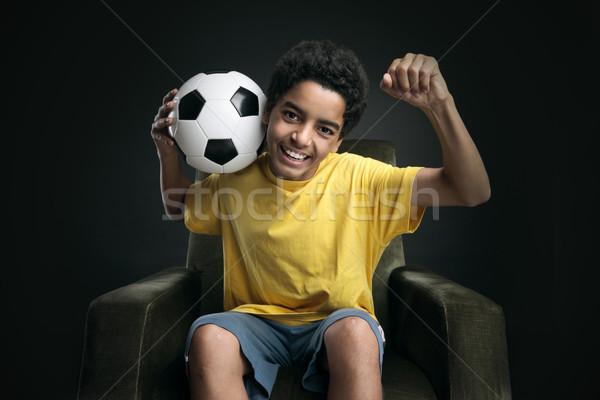 Winnaar gelukkig vieren overwinning voetbal Stockfoto © stokkete