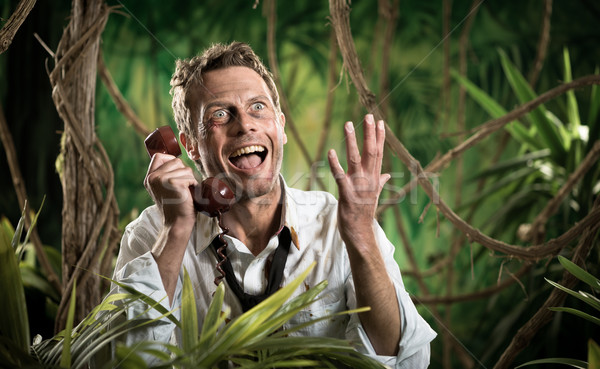 Сток-фото: бизнесмен · телефон · потеряли · джунгли · сердиться