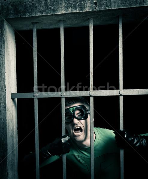 Szuperhős zárolt börtön mérges zöld kiált Stock fotó © stokkete