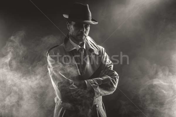 Mysterious man waiting in the fog Stock photo © stokkete