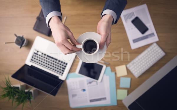 ビジネスマン コーヒーブレイク プロ 作業 手 ストックフォト © stokkete