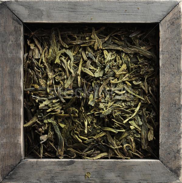 Thé vert bois boîte bois organique Photo stock © stokkete