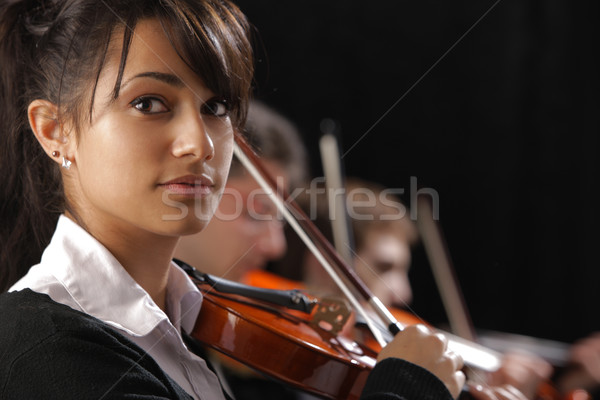 Classical music concert: Portrait of young woman violinist Stock photo © stokkete